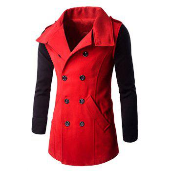 Turn-Down Collar Color Block Splicing Double-Breasted Woolen Coat