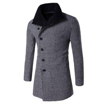 Turn-Down Collar Houndstooth Pattern Single-Breasted Woolen Coat