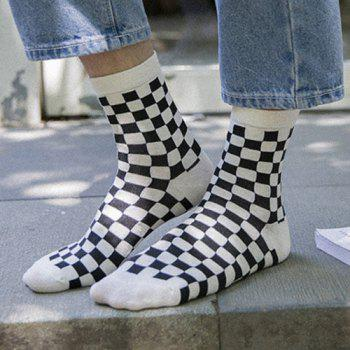 One Set Casual Jacquard Pattern Socks - WHITE/BLACK