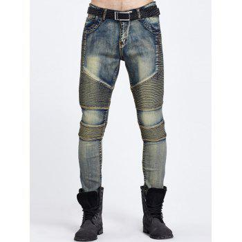 Zipper Fly Ribbed Panel Ripped Jeans