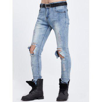 Zipper Fly Knee Trou Ripped Jeans - Bleu 36