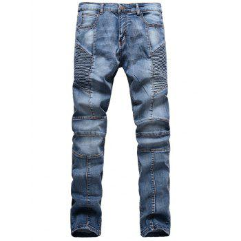 Zipper Fly Scratched Ribbed Panel Five-Pocket Jeans