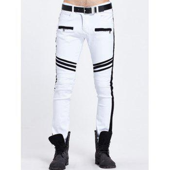 Contrast Insert Zippered Pocket Design Jeans