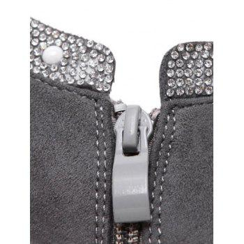 Pointed Toe Flock Rhinestone Ankle Boots - GRAY 39