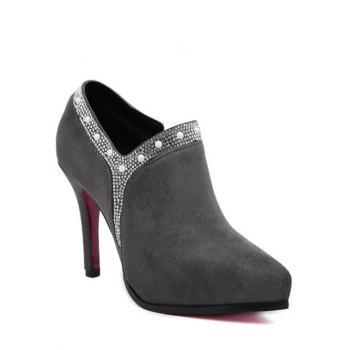 Pointed Toe Flock Rhinestone Ankle Boots
