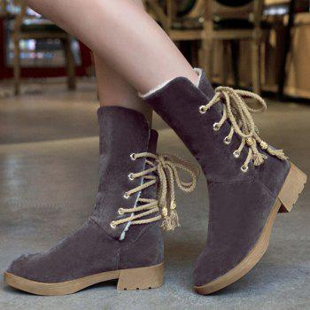Suede Back Lace-Up Low Heel Mid-Calf Boots - GRAY 38