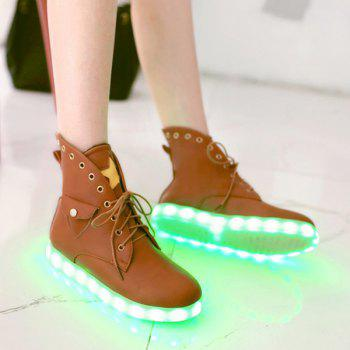 Star Eyelet Led Luminous Boots