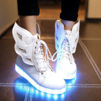 Lace-Up Winged Led Luminous Boots