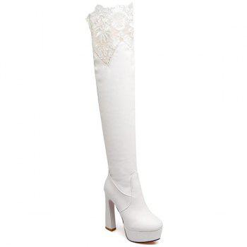 Lace Spliced Chunky Heel Thigh High Boots
