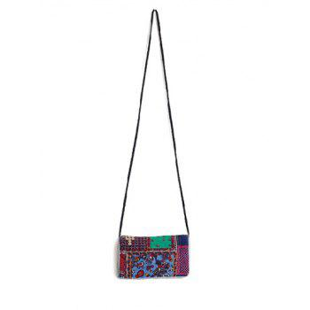 Ethnic Style Print Denim Splice Crossbody Bag