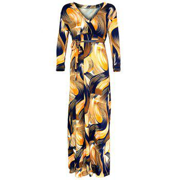 Abstract Maxi Wrap Dress