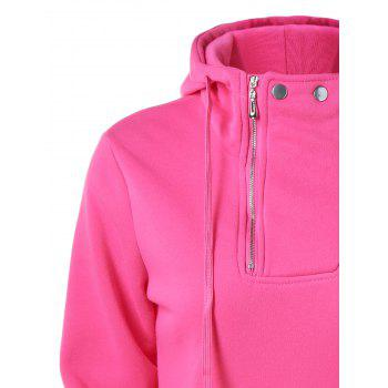 Drawstring Pocket Design Zippered Hoodie - ROSE RED ROSE RED