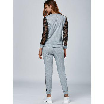 Lace Splicing Sweatshirt with Pants - GRAY L