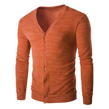 Slim-Fit Button Fly Melange Cardigan