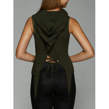 Hooded Lace-Up Asymmetrical Tank Top