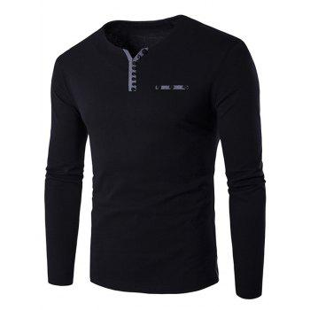 Buy Long Sleeve Notch Neck Button Embellished T-Shirt BLACK