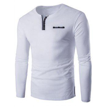 Long Sleeve Notch Neck Button Embellished T-Shirt