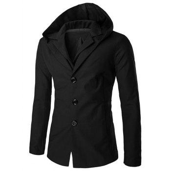 Buy Zipper Sleeve Lapel Collar Hooded Faux Twinset Blazer BLACK