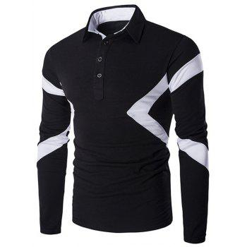 Spliced Long Sleeve Slim-Fit Polo Shirt