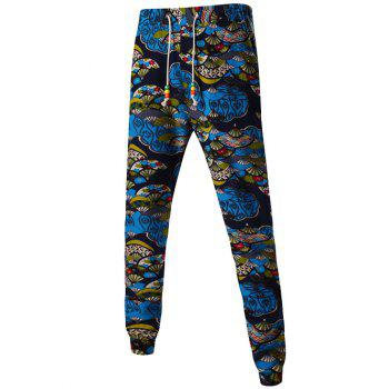Folding Fan Print Mid-Rise Drawstring Jogger Pants