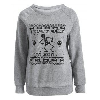 Skeleton Printed Sweatshirt - GRAY GRAY
