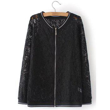Plus Size Lace Zip Up Jacket