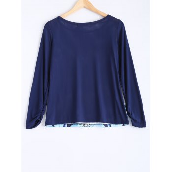 Flower Print Plus Size Long Sleeve T-Shirt - BLUE XL