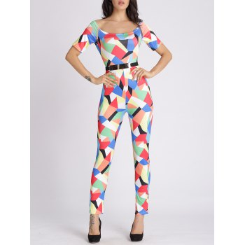 U Neck Colorful Geometric Jumpsuit