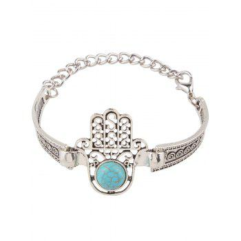 Fake Turquoise Palm Alloy Bracelet