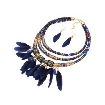 Ethnic Layered Feather Jewelry Set