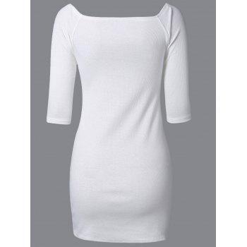 Side Zip Off The Shoulder Bodycon Dress - WHITE S