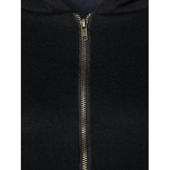 Long Sleeve Zip Up Hoodie - BLACK L