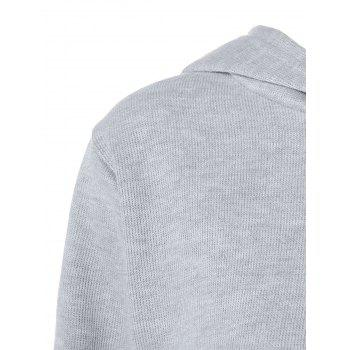 Long Sleeve Zip Up Hoodie - LIGHT GRAY S