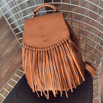 Snap Closure PU Leather Knotted Fringe Backpack - BROWN