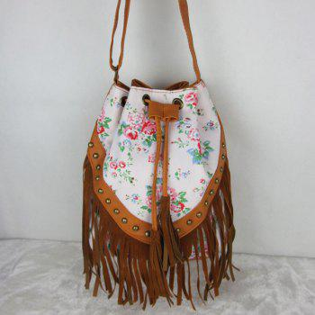 Bohemian Rivet Fringe Printed Bag