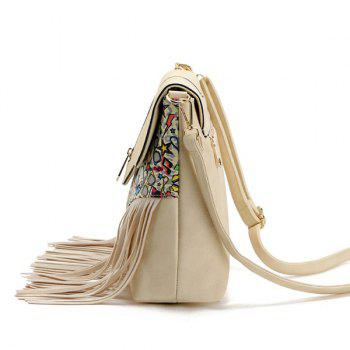 Zip Printed Fringe Crossbody Bag -  BROWN