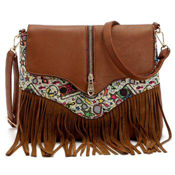 Zip Printed Fringe Crossbody Bag - BROWN BROWN