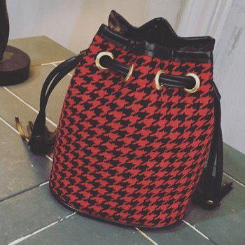 Tassels Houndstooth Color Block Crossbody Bag - RED WITH BLACK RED/BLACK