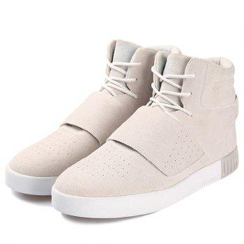 Casual Lace-Up Suede High Top Shoes - GRAY 41