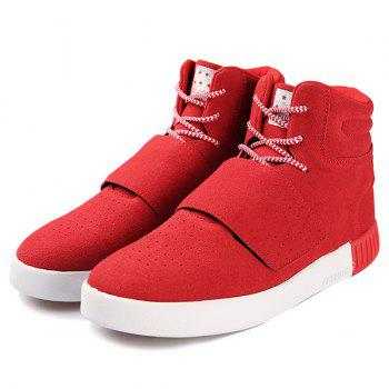 Casual Lace-Up Suede High Top Shoes - RED 40