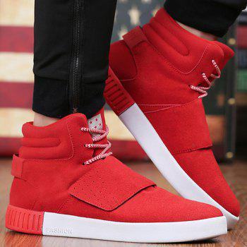 Buy Casual Lace-Up Suede High Top Shoes RED