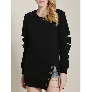 Cut Out Ripped Sleeve Chain Design Sweatshirt - BLACK BLACK