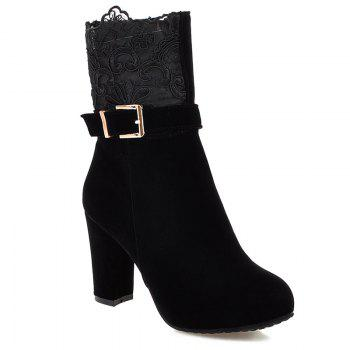 Zipper Embroidery Chunky Heel Short Boots