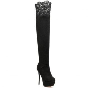 Flock Stiletto Heel Lace Spliced Thigh Boots