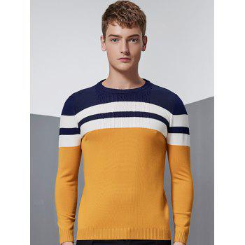Crew Neck Long Sleeve Color Block Splicing Stripe Design Sweater