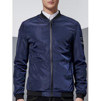 Printed Sleeve Stand Collar Zip-Up Bomber Jacket