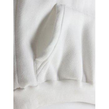 Embroidered Thickening Hoodie - WHITE WHITE