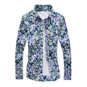 3D Flower Printed Long Sleeve Shirt - COLORMIX COLORMIX