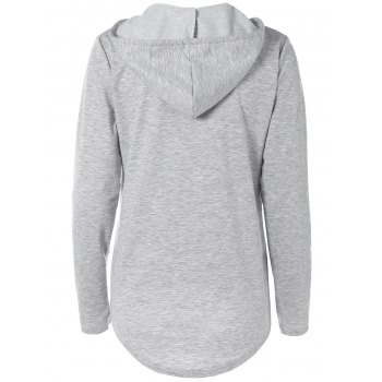 Pocket Arc Design Hem Drawstring Hoodie - Gris XL