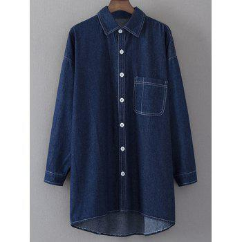 Long Sleeve Shirt Neck Denim Shirt Dress